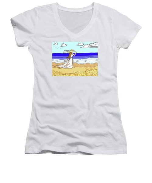 Windy Day At The Beach Women's V-Neck T-Shirt (Junior Cut) by Patricia L Davidson