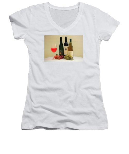 Wine Display Barn Door  Women's V-Neck T-Shirt (Junior Cut) by Dan Sproul