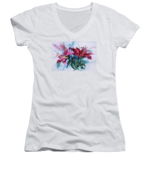 Wine Lillies In Pastel Watercolour Women's V-Neck