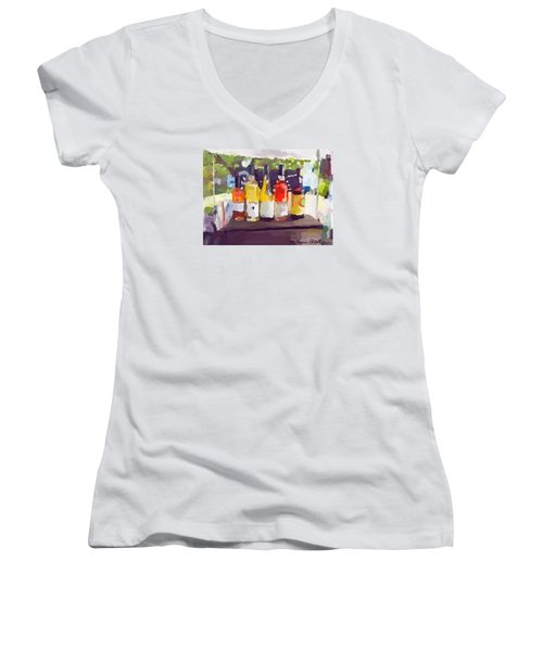 Wine Tasting Tent At Rockport Farmers Market Women's V-Neck T-Shirt