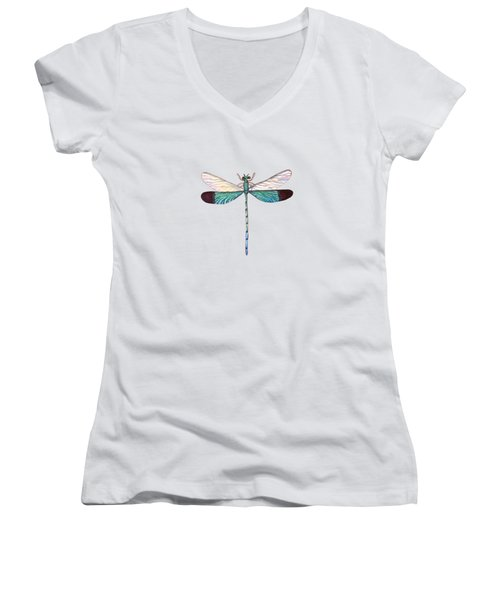 Women's V-Neck T-Shirt featuring the painting Winged Jewels 1, Watercolor Tropical Dragonfly Aqua Blue Black by Audrey Jeanne Roberts