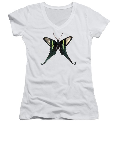 Winged Jewels 3, Watercolor Tropical Butterfly With Curled Wing Tips Women's V-Neck (Athletic Fit)