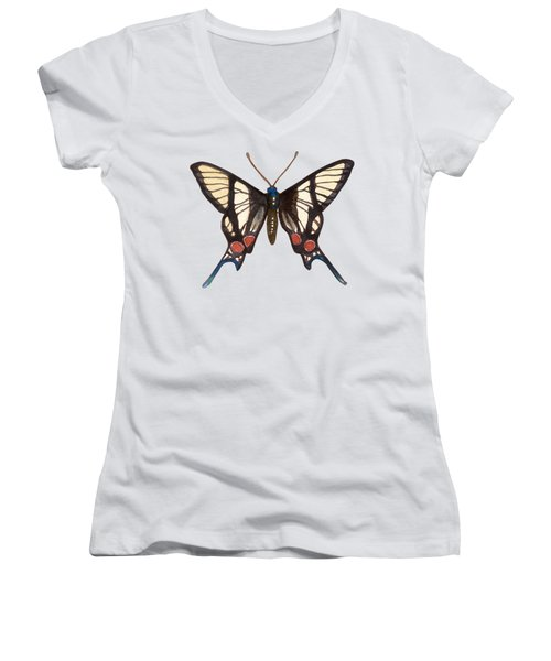 Winged Jewels 4, Watercolor Tropical Butterflie Black White Red Spots Women's V-Neck T-Shirt
