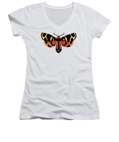 Winged Jewels 5, Watercolor Moth Black Yellow Orange And Red Tropical Women's V-Neck T-Shirt