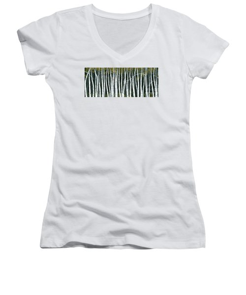 Women's V-Neck T-Shirt (Junior Cut) featuring the painting Winter Aspen 3 by Michael Swanson