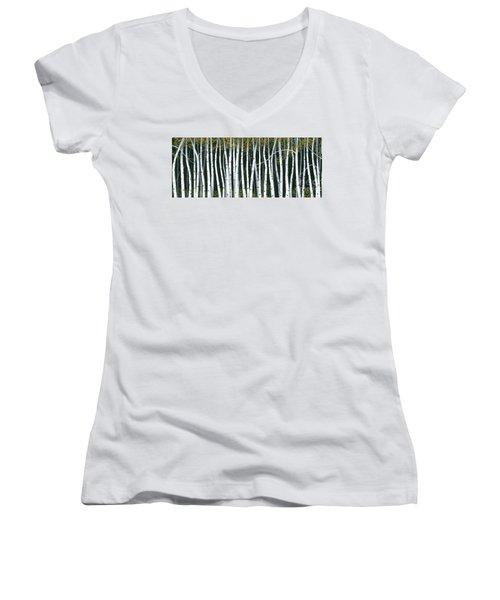 Winter Aspen 3 Women's V-Neck T-Shirt (Junior Cut) by Michael Swanson