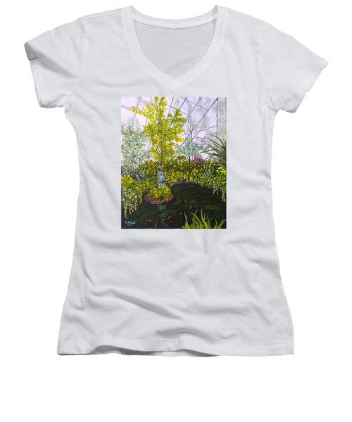 Winter At Allan Gardens Women's V-Neck T-Shirt (Junior Cut) by Diane Arlitt