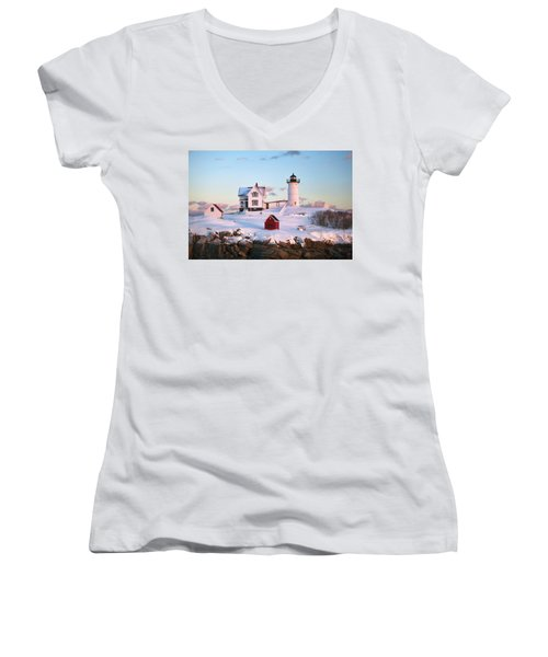 Winter At Nubble Women's V-Neck T-Shirt