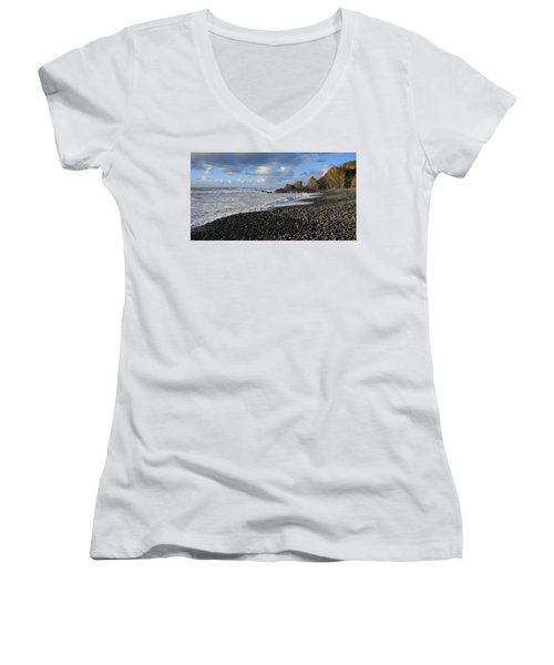 Winter At Sandymouth Women's V-Neck T-Shirt (Junior Cut) by Richard Brookes
