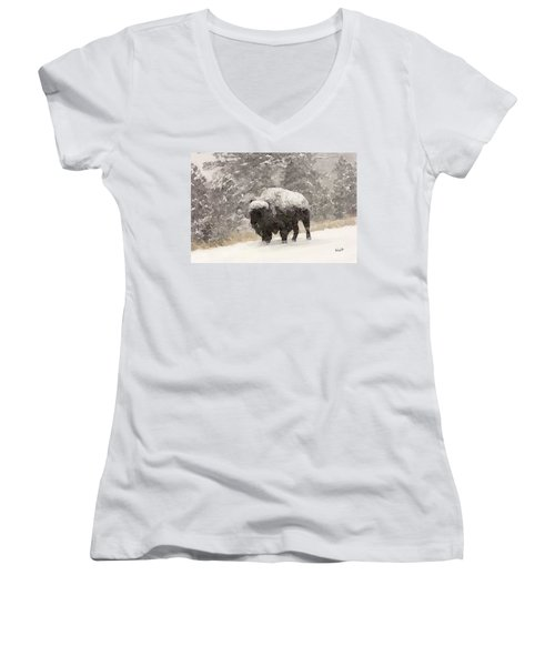 Women's V-Neck T-Shirt (Junior Cut) featuring the digital art Winter Bison by Walter Chamberlain