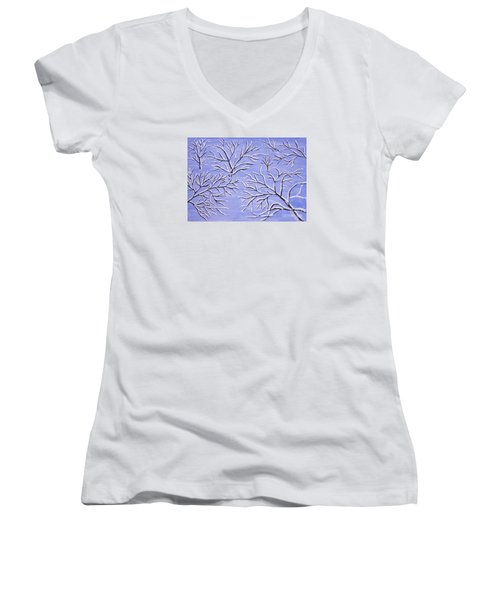 Winter Branches, Painting Women's V-Neck T-Shirt