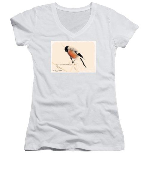 Winter Bullfinch Women's V-Neck
