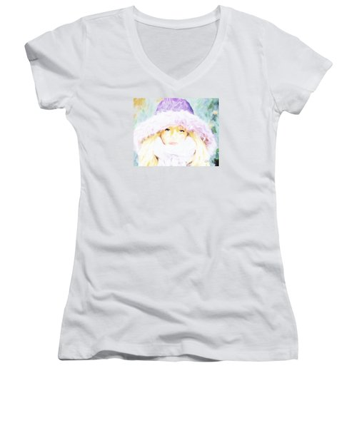 Women's V-Neck T-Shirt (Junior Cut) featuring the painting Winter  by Chris Armytage