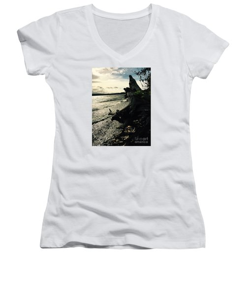 Winter Comes To The Sea Women's V-Neck (Athletic Fit)