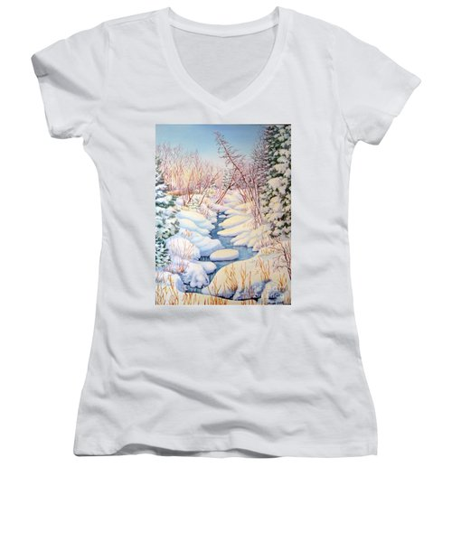 Winter Creek 1  Women's V-Neck T-Shirt