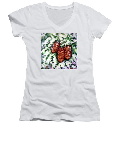 Winter Fir Cones Women's V-Neck T-Shirt