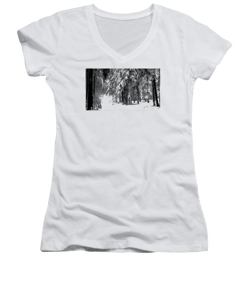 Winter Forest Bw - Cross Hatching Women's V-Neck (Athletic Fit)