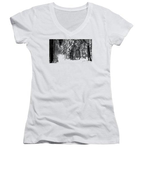 Winter Forest Bw - Cross Hatching Women's V-Neck T-Shirt
