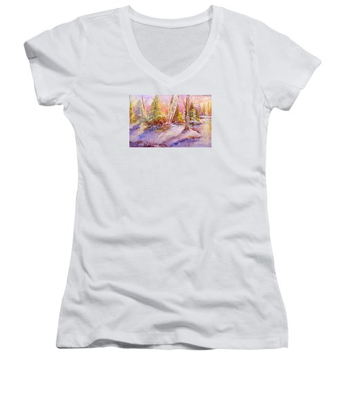 Winter Forest  Women's V-Neck T-Shirt (Junior Cut)