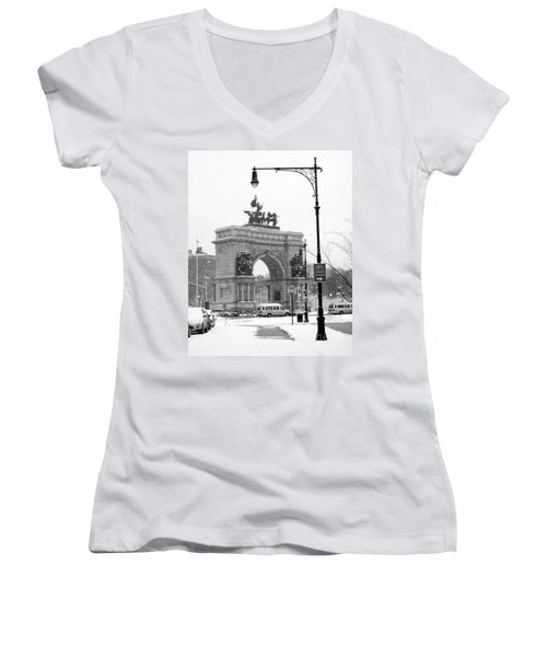 Winter Grand Army Plaza Women's V-Neck T-Shirt (Junior Cut) by Mark Gilman