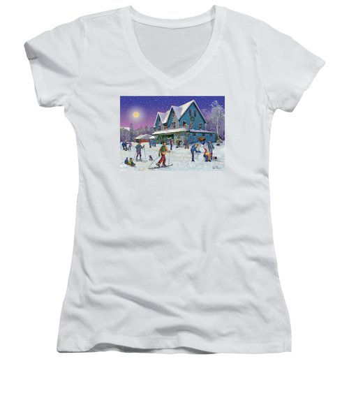 Winter In Campton Village Women's V-Neck T-Shirt