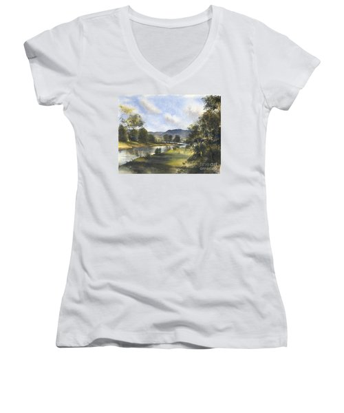 Women's V-Neck T-Shirt (Junior Cut) featuring the painting Winter In The Bellinger Valley by Sandra Phryce-Jones