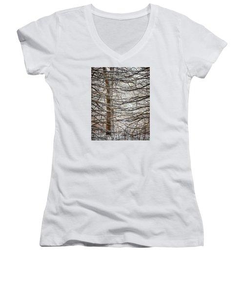 Winter In The Woods Women's V-Neck T-Shirt (Junior Cut) by Nikki McInnes