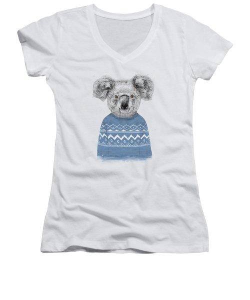 Winter Koala Women's V-Neck (Athletic Fit)