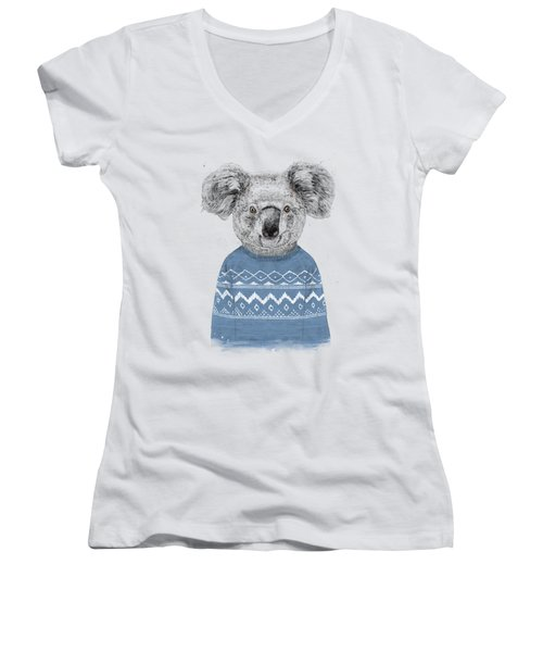 Winter Koala Women's V-Neck