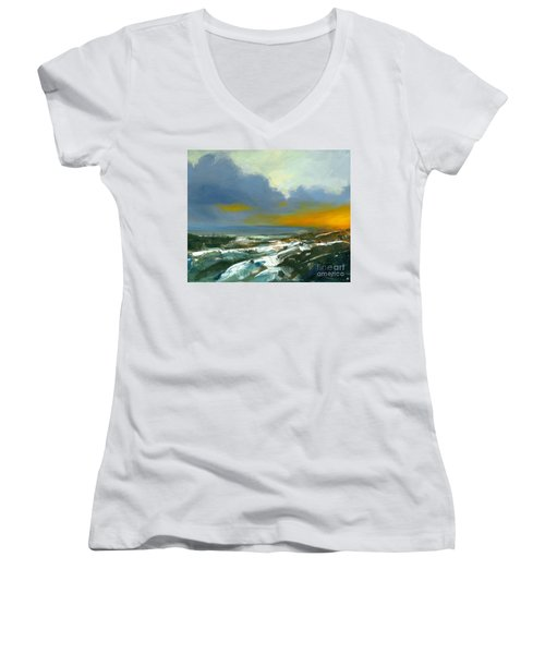 Winter Lake View Women's V-Neck (Athletic Fit)