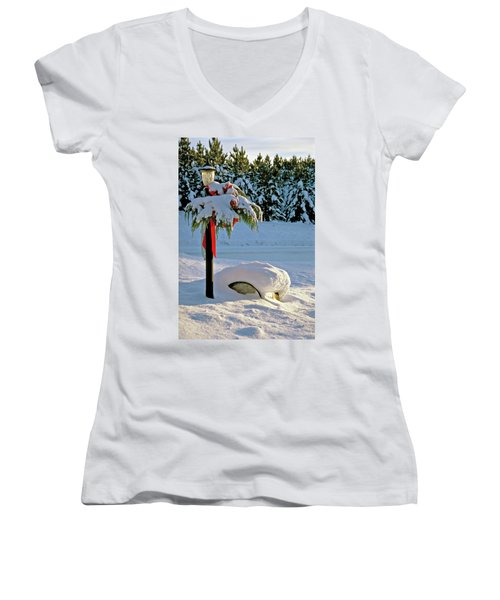 Winter Lamp Post In The Snow With Christmas Bough Women's V-Neck