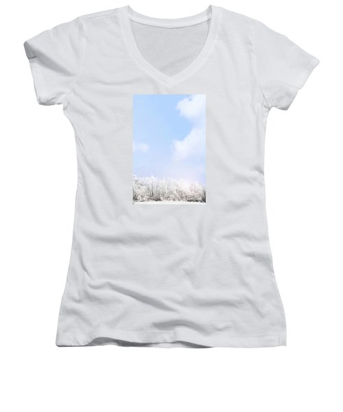 Winter Landscape Women's V-Neck T-Shirt (Junior Cut) by Stephanie Frey