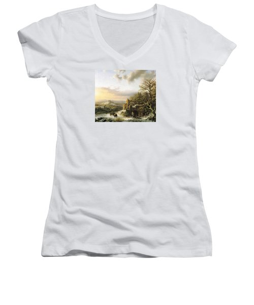 Winter Landscape With Peasants Gathering Wood Women's V-Neck T-Shirt (Junior Cut) by Reynold Jay