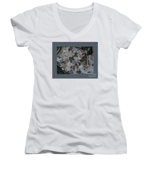 Women's V-Neck T-Shirt (Junior Cut) featuring the photograph Winter Leaf Abstract-i by Patricia Overmoyer