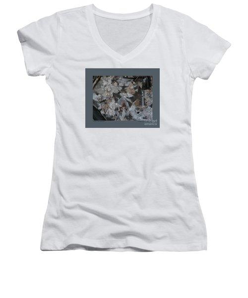 Winter Leaf Abstract-i Women's V-Neck T-Shirt