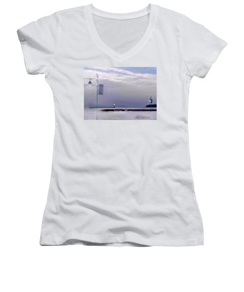 Winter Lights To Rock Point Digital Painting Of Evening Sentries At The Coast Guard Station Women's V-Neck (Athletic Fit)