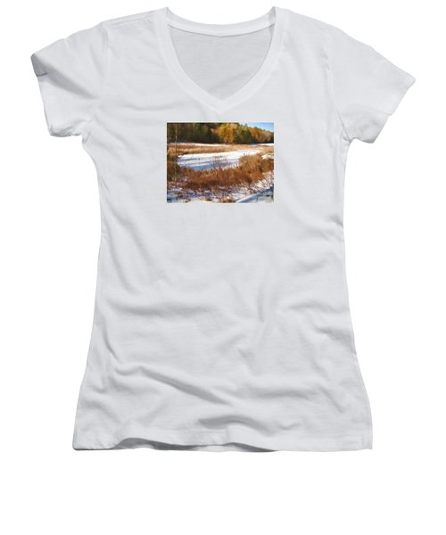 Women's V-Neck T-Shirt (Junior Cut) featuring the photograph Winter Marsh by Betsy Zimmerli