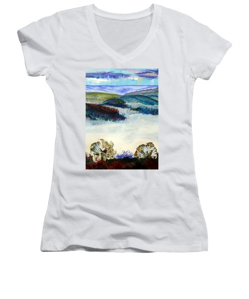 Winter Misty Morning In Devon Women's V-Neck