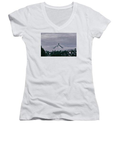 Winter Morning Fog Envelops Chimney Rock Women's V-Neck T-Shirt (Junior Cut) by Jason Coward