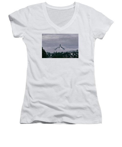 Winter Morning Fog Envelops Chimney Rock Women's V-Neck T-Shirt