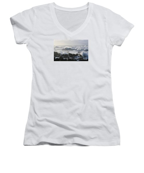 Women's V-Neck T-Shirt (Junior Cut) featuring the photograph Winter Sea by Jeanette French