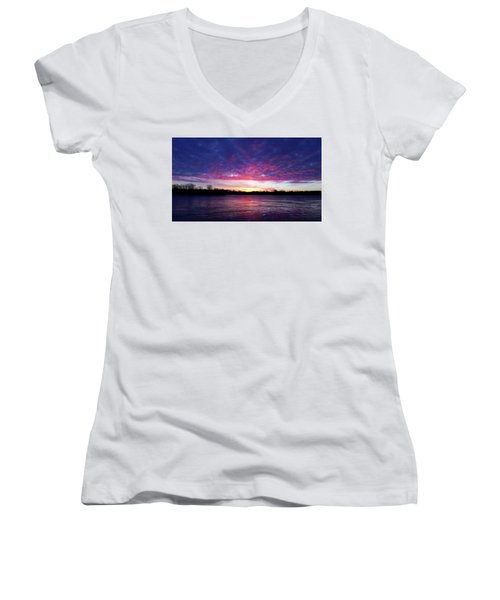 Winter Sunrise On The Wisconsin River Women's V-Neck T-Shirt (Junior Cut) by Brook Burling
