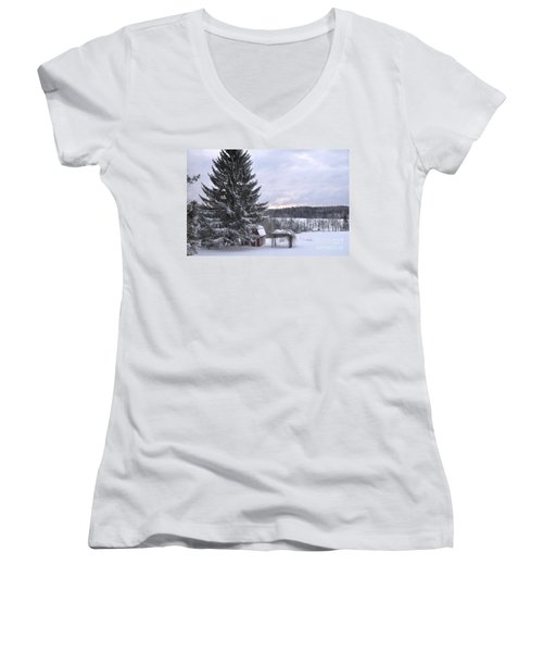 Women's V-Neck T-Shirt (Junior Cut) featuring the photograph Winter Sunset - 1 by John Black
