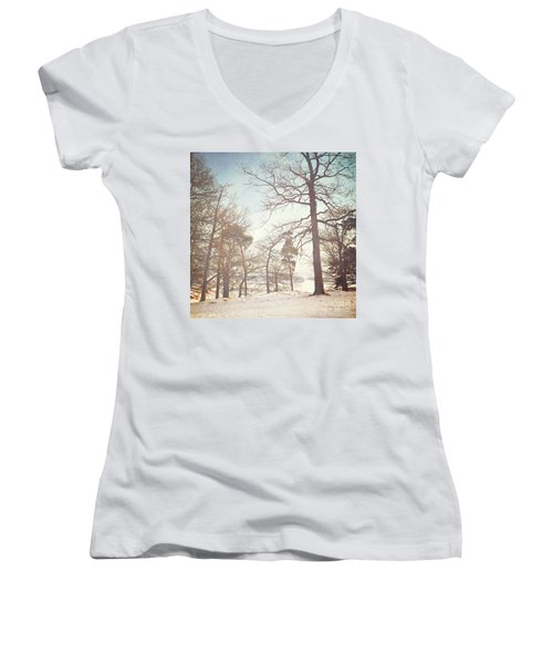 Women's V-Neck T-Shirt (Junior Cut) featuring the photograph Winter Trees by Lyn Randle