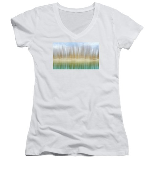 Winter Trees On A River Bank Reflecting Into Water Women's V-Neck