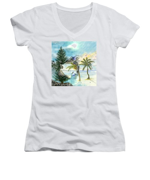 Women's V-Neck T-Shirt featuring the digital art Winter Vacation by Darren Cannell