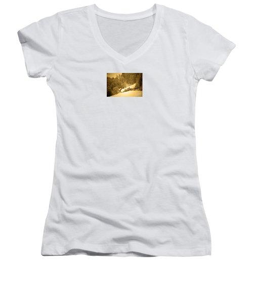 Women's V-Neck T-Shirt (Junior Cut) featuring the photograph Winter Wonderland In Switzerland - Up The Hills by Susanne Van Hulst