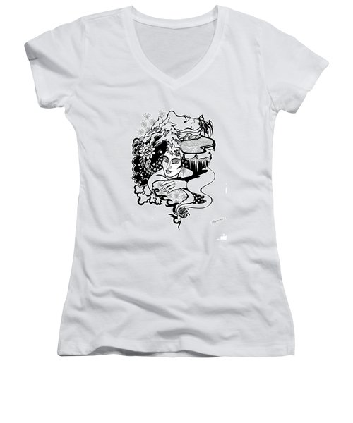 Winter Women's V-Neck T-Shirt (Junior Cut) by Yelena Tylkina