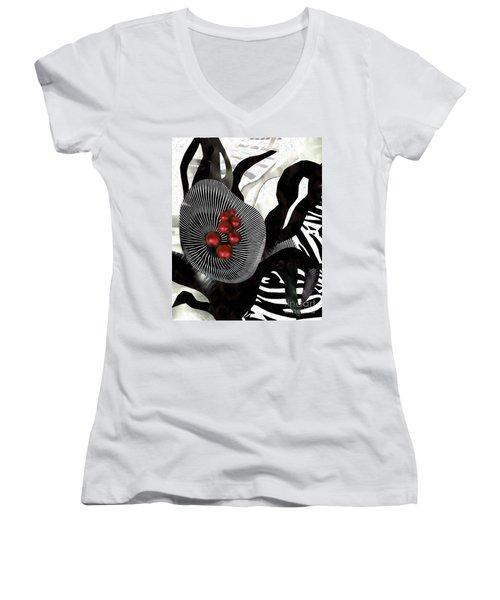 Winterberries Women's V-Neck T-Shirt (Junior Cut) by Sarah Loft