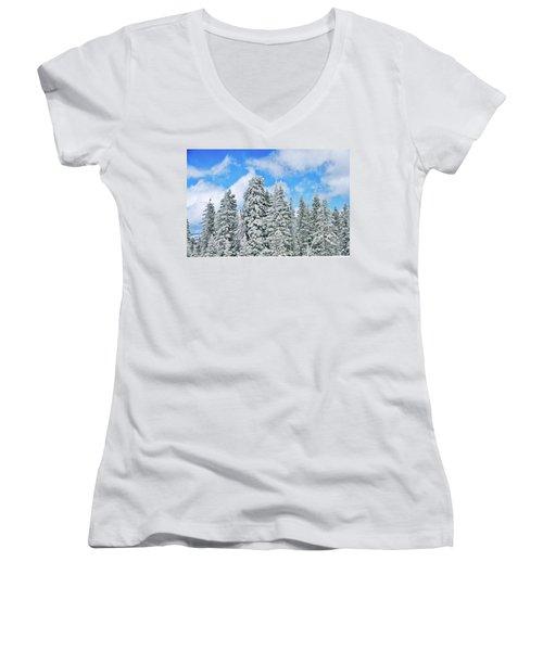 Winterscape Women's V-Neck T-Shirt (Junior Cut) by Jeff Kolker